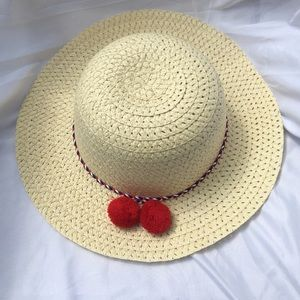 Other - Sun hat with red Pom poms